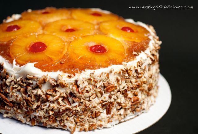Layered pineapple upside down cake. Modification: make one layer with pineapple rings, use this for the top, bottom layer make with chopped or crushed pineapple.
