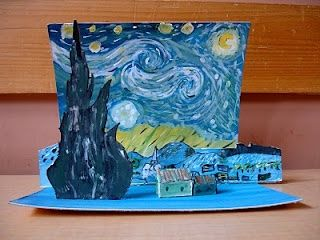 make paintings 3D with shadowboxes, teachers foreground, middleground, background