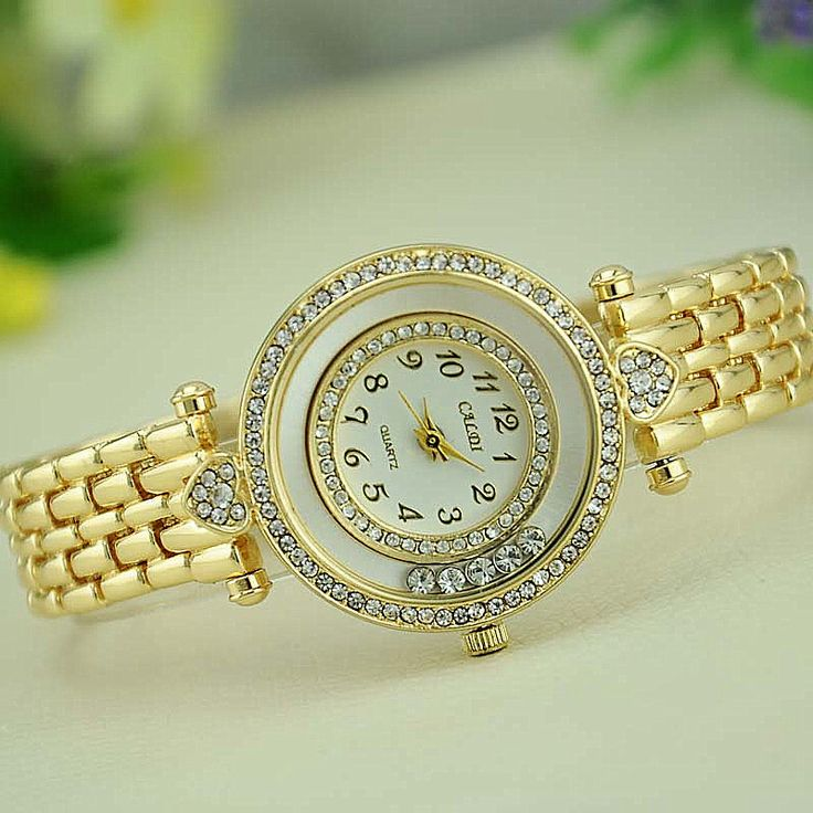 NEW Women Metal Bracelet Watch Caldi Double Gold Link Wristwatch Reloj Para Dama Quartz Watches Woman Watch