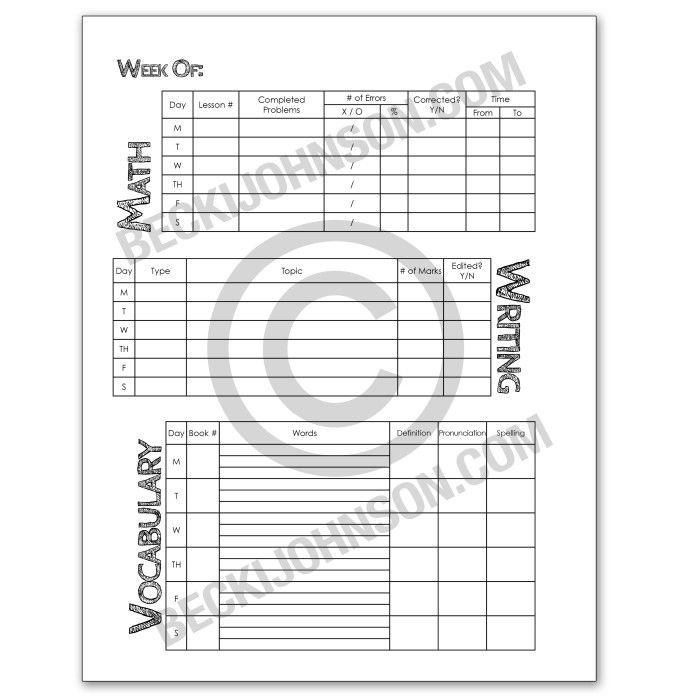 FREE Instant Download! Robinson Curriculum Student Planner