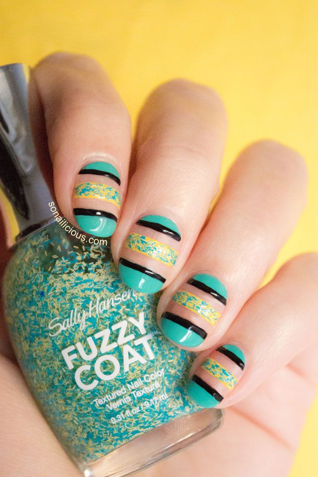 Negative Space Nails -5 Nail Art Designs with Sally Hansen Fuzzy Coat - Look3. Click for more!