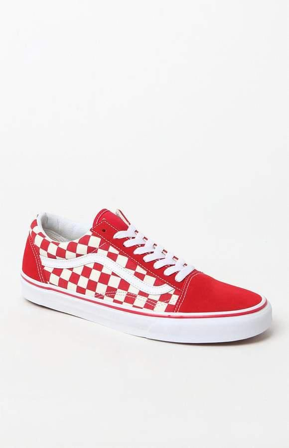 shoes, Vans checkered, Red checkered vans