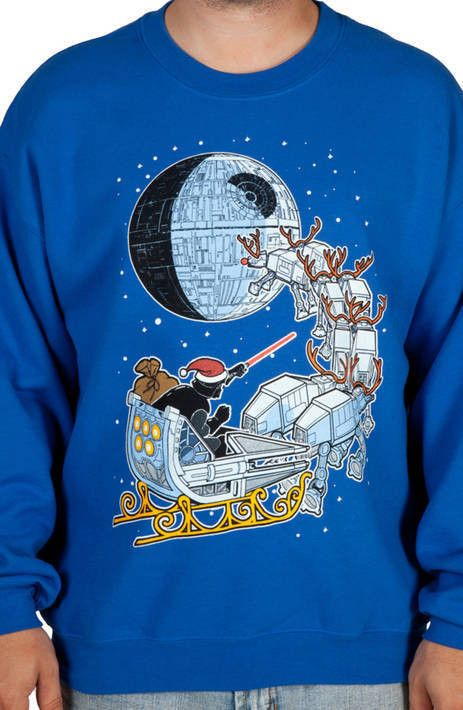 That's no moon. That's the North Pole. Santa Darth is ready for Christmas on this Darth Vader Sleigh Ugly Faux Sweater.  Darth Vader is having a busy holiday season. He's already wiped out a Jedi Knight on the Jedi Got
