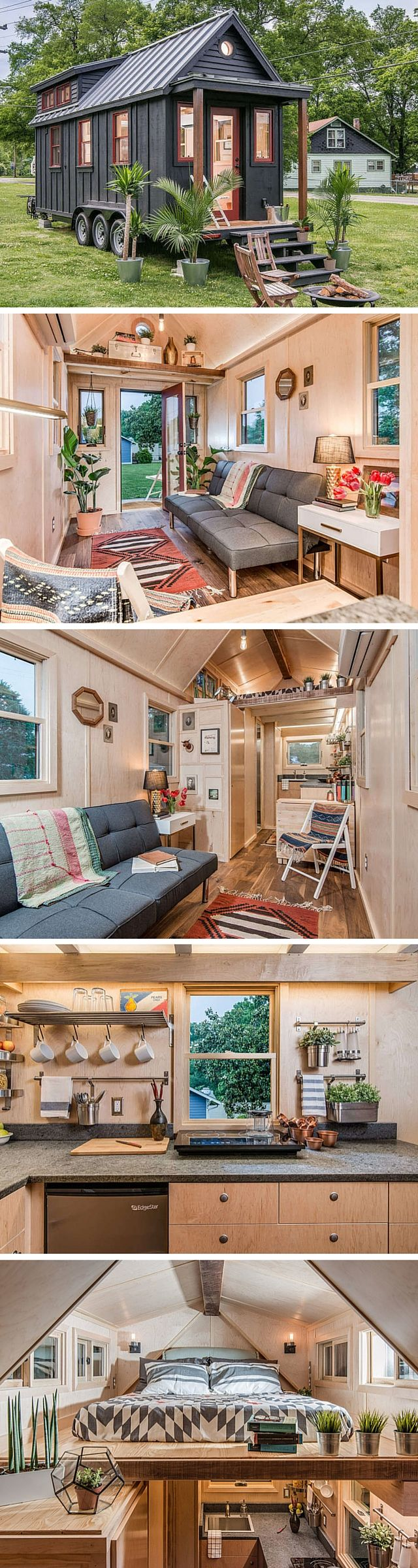 View toward kitchen the alpha tiny home by new frontier tiny homes - The Riverside Tiny House By New Frontier Tiny Homes A 246 Sq Ft Home With
