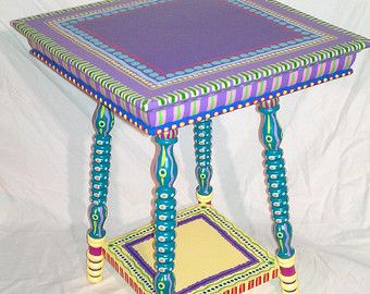 Hand Painted Furniture Vintage Colorful Side Table by LisaFrick