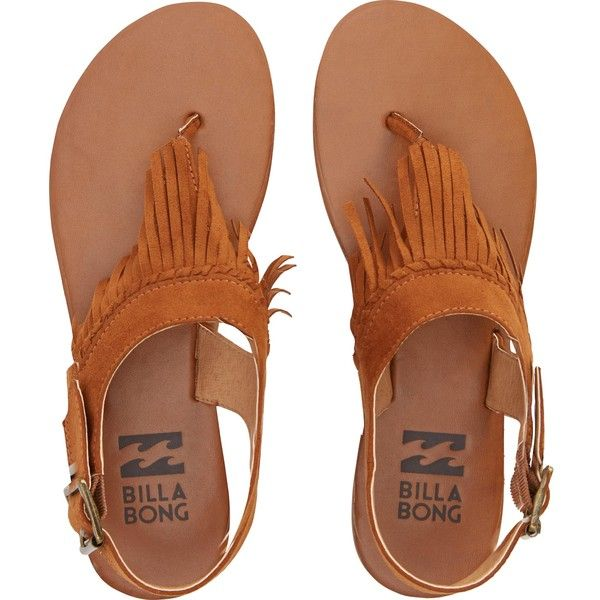 Billabong Women's All Tassled Sandals ($45) ❤ liked on Polyvore featuring shoes, sandals, flats, chestnut, footwear, ankle strap flats, ankle tie flats, ankle strap sandals, fringe flats sandals and suede fringe sandals