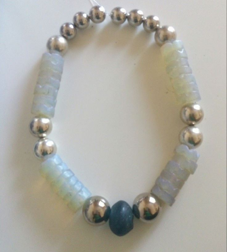 Egyptian opal aka moon beads, crobo bead and silver coated dome necklace https://www.etsy.com/shop/FanmMon