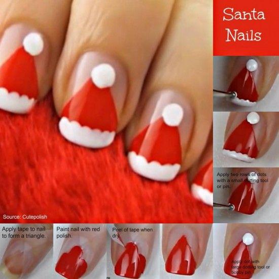 Christmas Santa Hat Nail Art