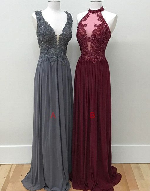 gray lace evening dress, burgundy lace formal dress, burgundy prom dress for teens