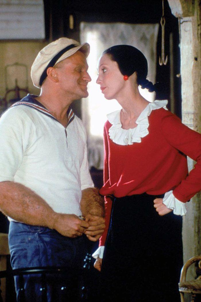 """Robin Williams y Shelley Duvall en """"Popeye"""", 1980"""