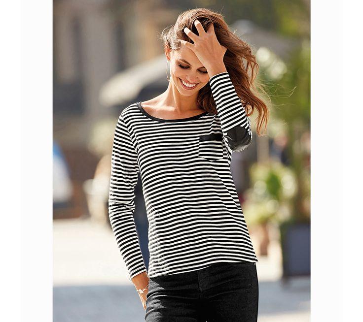 Proužkované tričko s kontrastními detaily   modino.cz #modino_cz #modino_style #style #fashion #autumn #bestseller #podzim
