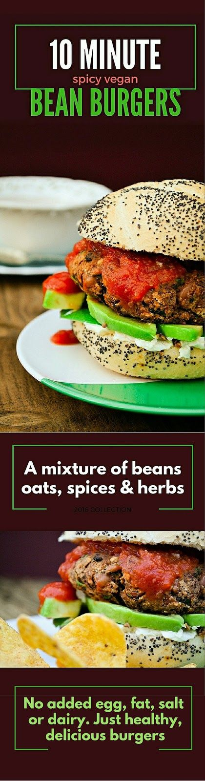 Quick and delicious bean burgers made in 10 minutes from beans, oats, spices and herbs. These are dairy free and vegan with no added salt, sugar, fat or additives that supermarket burgers contain.