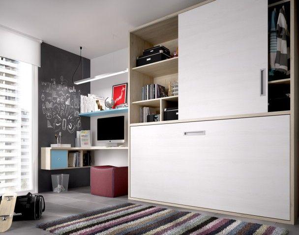 Habitación cama abatible horizontal y armario
