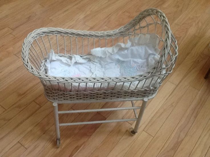Antique Wicker Small Doll Crib W Orig Plastic Wheels