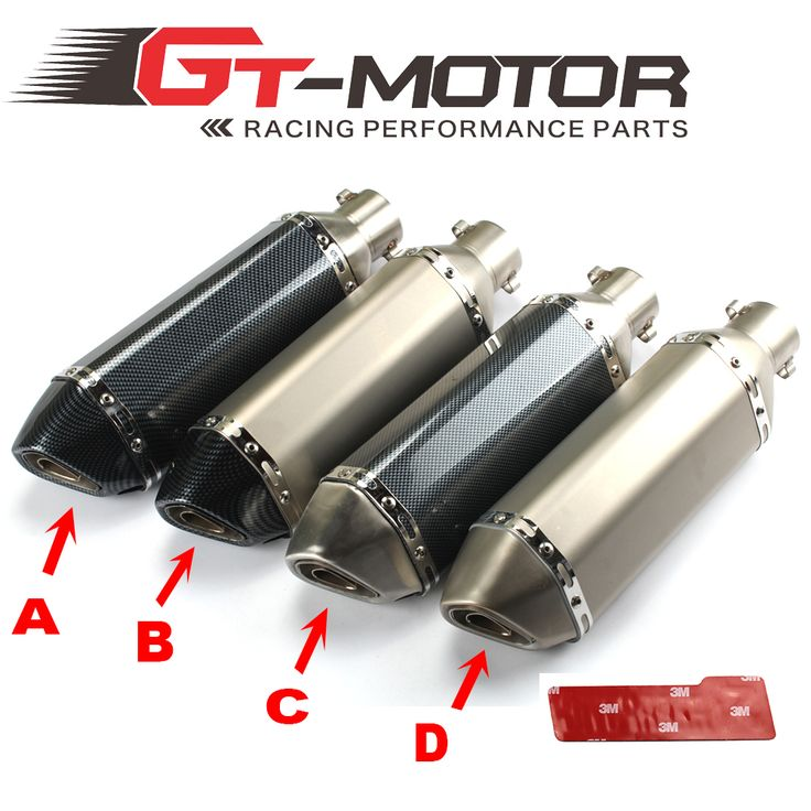 GT Motor - Universal 35-51mm Motorcycle exhaust Modified Scooter Exhaust Muffle GY6 for HONDA R1  R6 FZ6 Z1000 GSXR600
