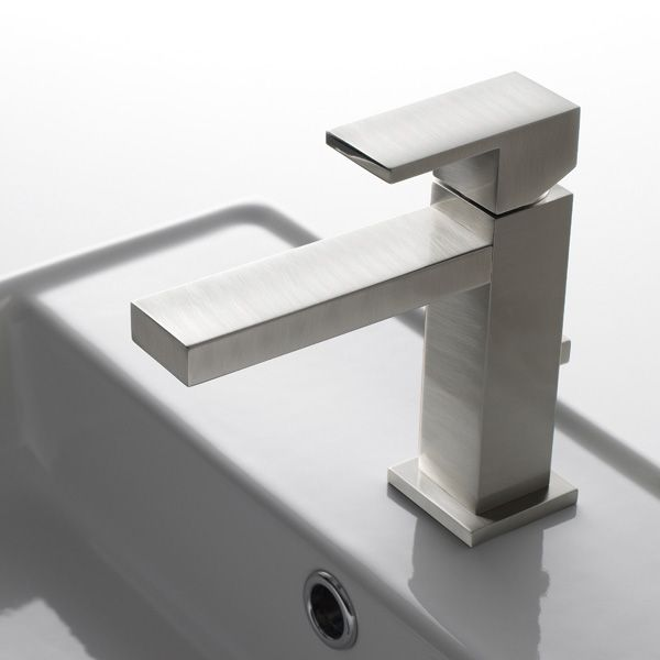 Mitigeur lavabo vasque design Q + bonde - nickel brossé