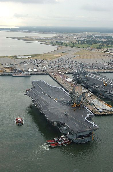 USS John F Kennedy (CV 67) arrives at Pier 12, Norfolk Naval Station, VA in 2002