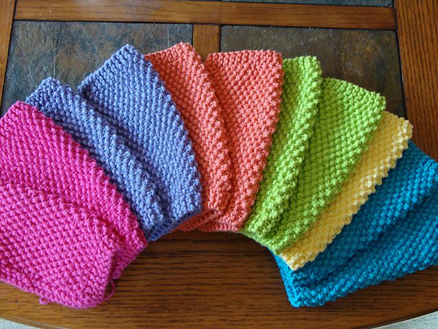 Simple seed stitch dishcloths. I make these all the time ...