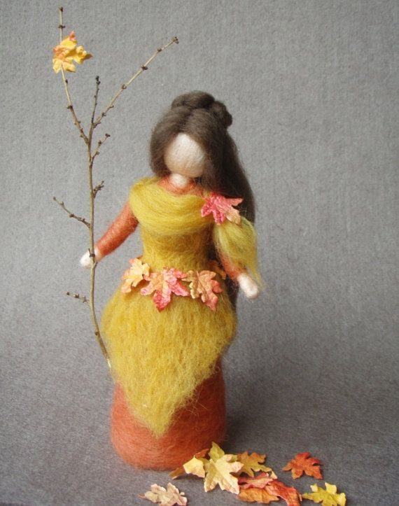 Autumn Fairy Doll Needle Felted Wool Soft Sculpture by Holichsmir