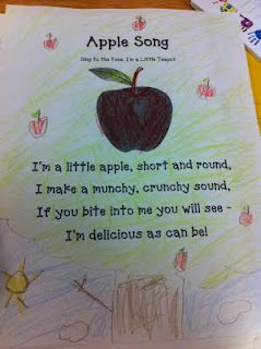 Love the song idea would have kids make their own apple whatever color they wanted and draw their own apple tree.