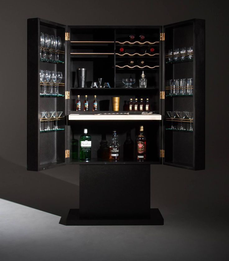 """Dionysus"" - A cocktail cabinet made from black Valchromat and rippled Sycamore wine shelfs. By Roi Klifi"