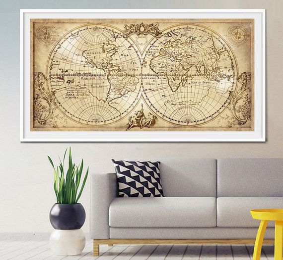 20 best extra large wall art world map images on pinterest maps old world map historic map antique style world by fineartcenter gumiabroncs Choice Image