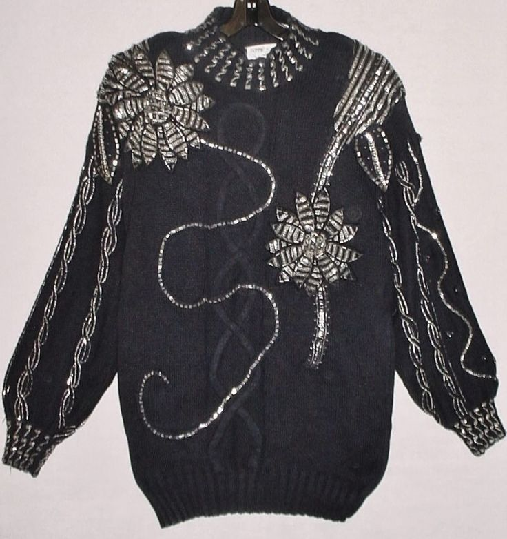 Vtg 80's HIDEOUS! UGLY! Ladies L Heavily Beaded CHRISTMAS Tunic Sweater, Black #BonnieBoererCo #Tunic