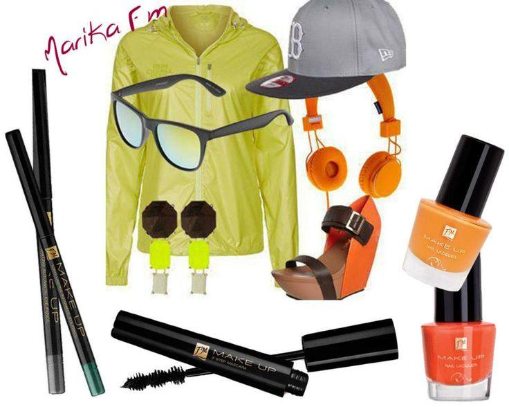 #Look #Sporty #chic! - Matite automatiche per gli occhi : kr03 Strong graphite, kr06 Malachite green - m002 Mascara 3 step - Smalti : n018 Papaya, n030 Fresh carrot     #nails #nailart #trend #fashion #outfit #moda #FMGroup #FMGroupItalia #makeup #passion #mascara #eyes
