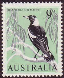 Australia 1964 SG 364 Black Backed Magpie Fine Mint Scott 368 Other Australian Stamps HERE