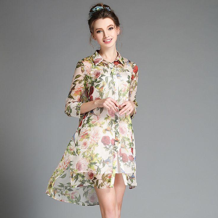 High Quality New 2016 Summer Fashion Runway Plus Size DressWomen's Elegant 3/4 Sleeves Floral Print 2 Pieces Shirt Dress S-5XL //   Цена: $ US $49.99 & Бесплатная доставка //    #fashionmartonline #мода #стиль