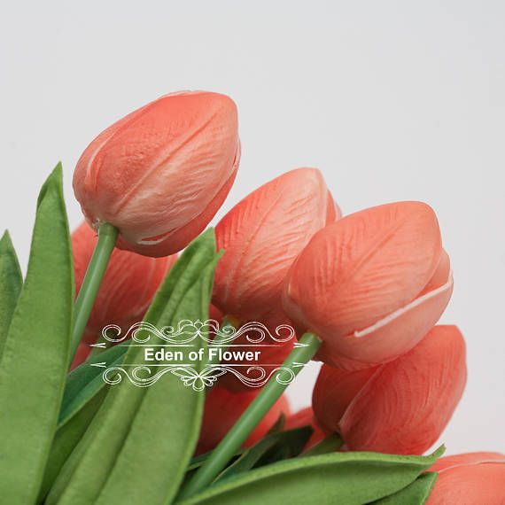 Real Touch Coral Tulip Bouquets for Bridal Bouquets Wedding