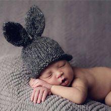 Baby Konijnenoren Gebreide Hoed Baby Peuter Winter Cap voor Kinderen 0-3 Maanden Meisje Jongen Accessoires Baby Fotografie Props(China (Mainland))