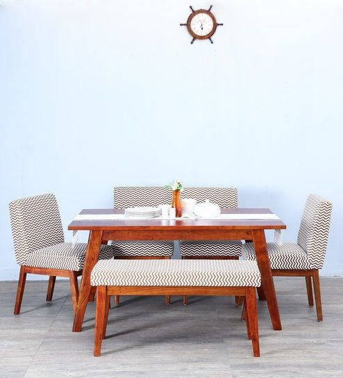 Ellsworth Rust Brown Upholstered Six Seater Dining Set with Bench in Honey Oak Finish by Woodsworth