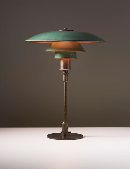 POUL HENNINGSEN Desk lamp, circa 1928  Painted copper, patinated tubular brass, patinated brass. 53 cm (20 7/8 in.) high Manufactured by Lou...