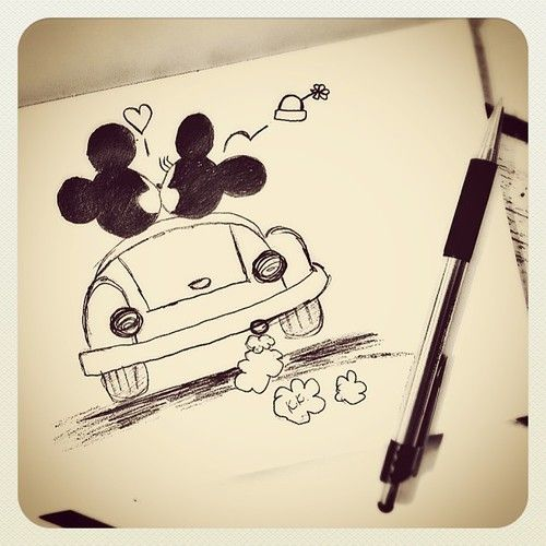 Drawing Mickey minnie mouse car | Doodles & Sketches ...