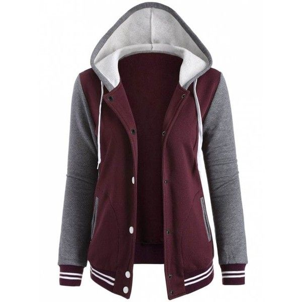 Varsity Baseball Fleece Hoodie Jacket ($21) ❤ liked on Polyvore featuring outerwear, jackets, fleece baseball jacket, fleece jacket, baseball jackets, purple jacket and purple fleece jacket
