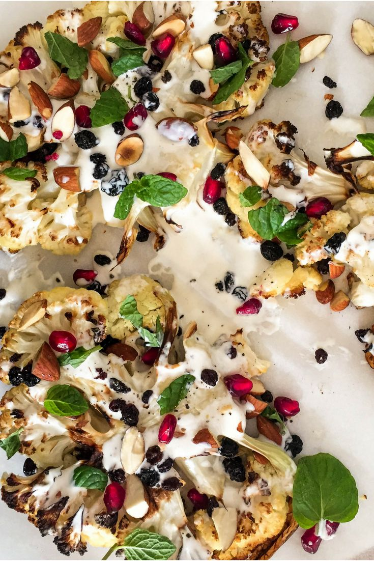Roasted Cauliflower with Pomegranate, Almonds & Tahini Dressing