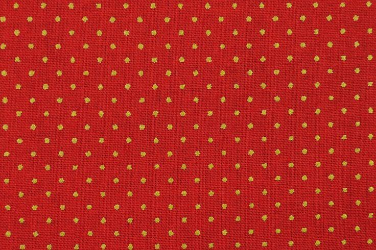 Baumwoll-Dekorationsstoff - Goldtupfen - Rot