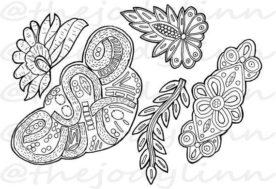 Museum Drawer: Appliques 1. Instant Download Digital Stamp Bundle. Line Art Illustration for Cards and Crafts