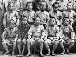 Daisaku Ikeda, front row, 2nd from right, in the fifth year of elementary school