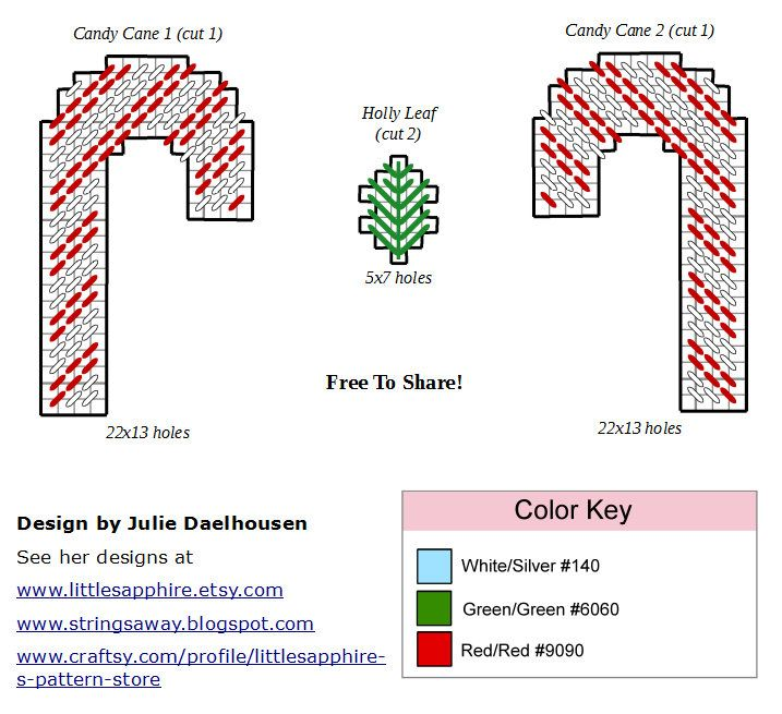 Free Plastic Canvas pattern, Candy Cane Ornament, 3/3