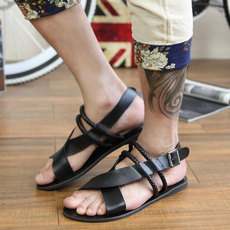 07e4cd27581aec 2015 male sandals male leather sandals genuine leather summer the trend of  male gladiator sandals-
