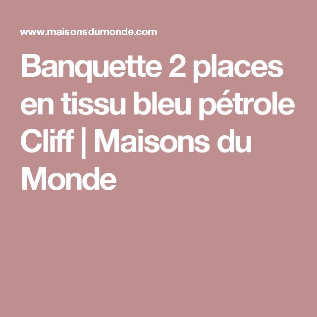 Banquette 2 places en tissu bleu pétrole Cliff | Maisons du Monde