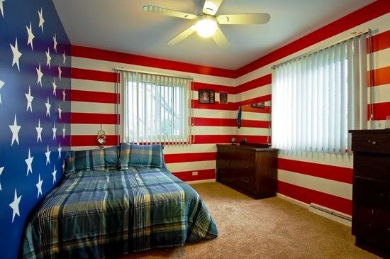 Patriotic walls this is awesome tyler 39 s room pinterest patriotic bedroom walls and - A three bedroom interior architecture design ...