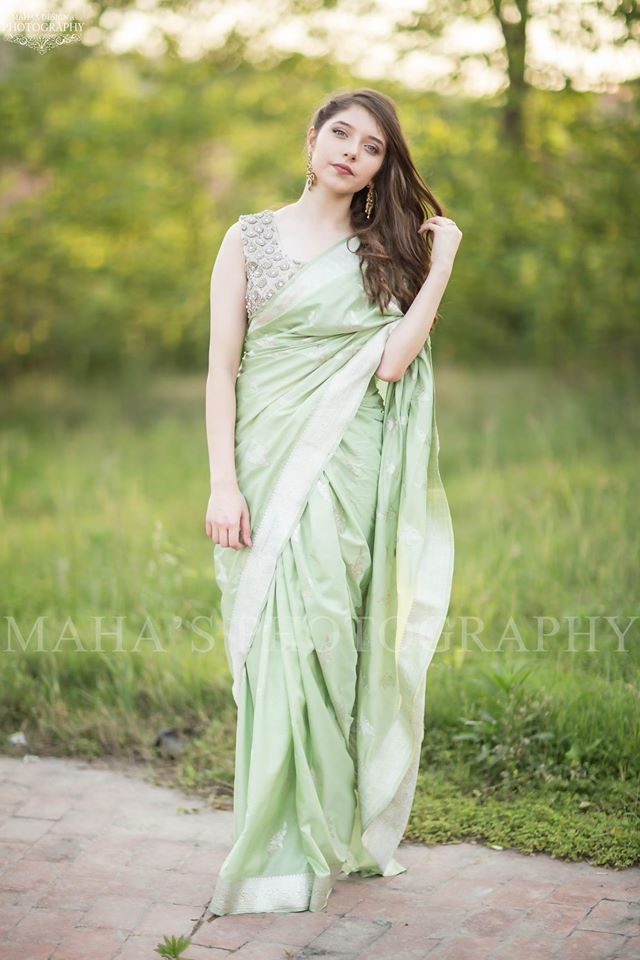 Green Silk Saree By Pakistani Boutiques