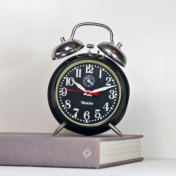 Alarm Clock: Vintage Mechanical Alarm Clock, Retro Alarm Clock Black and White Colors, Westclox Classic Alarm Clock