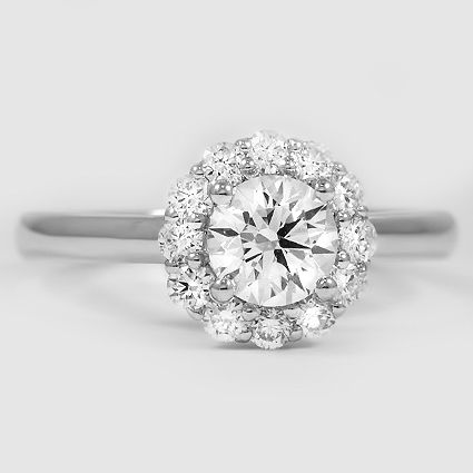 Platinum Lotus Flower Diamond Ring // Set with a 0.74 Carat, Round, Ideal Cut, H Color, VS1 Clarity Lab Diamond #BrilliantEarth