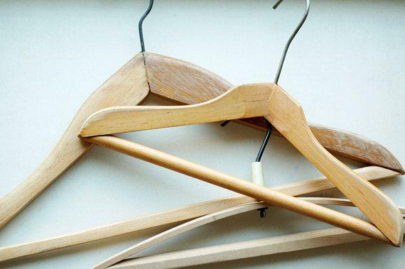 Vintage Clothes Hangers,Set of Clothes Hanger,Soviet Vintage,Vintage Wooden Hangers,Rustic Decor,Vintage Home Decor,Set of Wooden Hangers by TheOldShelf on Etsy