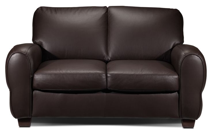 Major Impact. The genuine leather of the Sheldon loveseat makes it both high class and high impact. Fitting into modern décor with its straightforward design, this loveseat boasts ample, attached back cushions and comfortable seat cushions, along with chunky arms and dark wedge feet. Its chocolate colour offers a luxurious look that brings visual weight to any living room. Made in Canada.