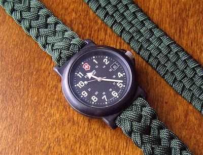 6 strand flat braided paracord (guts removed) used for watch band.